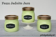 Faux Jadeite Jars for Storage from http://yesterdayontuesday.com #masonjars #fauxjadeite #jadeite #jadite