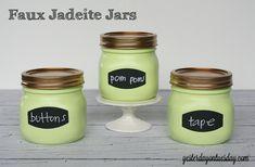 Upgrade plain Mason Jars to Faux Jadeite Jars for storage from http://yesterdayontuesday.com #masonjars #storage #jadeite #jadite
