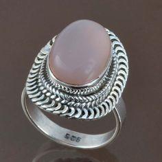 HOT SELL ROSE QUARTZ 925 STERLING SILVER RING JEWELRY 6.21g DJR9031 SIZE-6 #Handmade #Ring