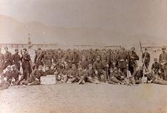 Regimiento de infantería Buin 1º de Línea. Fue trasladado a Antofagasta desde la Araucanía, donde cubría la línea de la frontera creada en la Araucanía, luego de la ocupación del territorio mapuche. Formó parte de las fuerzas que atacaron y tomaron la plaza de Pisagua, y luego San Francisco, Tacna y Arica. También participó en las batallas de Chorrillos, Miraflores y las campañas al interior de Perú. Fuente: Álbum gráfico militar de Chile: campaña del Pacífico: 1879-1884