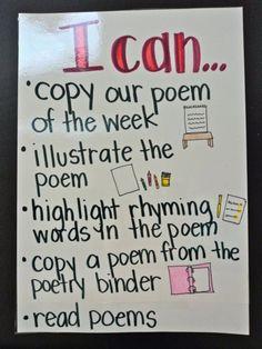 "Debbie Diller poetry work station ""I can"" poster"