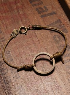 Bracelet for men - Vintage brass ring - Light brown wax cord
