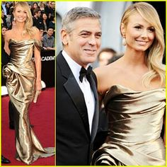 Stacy Keibler (with Clooney) in Marchesa