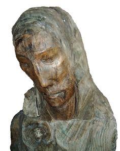 Cuthbert of Farne (detail), elm sculpture by Fenwick Lawson, 1984
