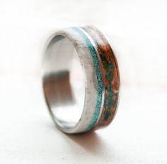Mens Wedding Band - Copper, Turquoise, Antler Titanium ring Antler Ring @Rae Evans