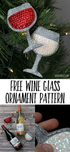 Sew A Felt Wine Glass Ornament - Free Pattern! Perfect handmade gift idea for wine lovers - sew up a sequin and felt ornament with this free wine glass ornament sewing pattern! Diy Gifts Cheap, Easy Handmade Gifts, Diy Crafts For Gifts, Holiday Crafts, Felt Crafts, Felt Christmas Decorations, Felt Christmas Ornaments, Diy Christmas Gifts, Homemade Christmas