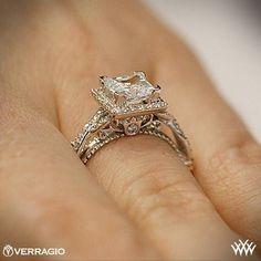 princess 3 stone halo ring | Verragio Princess Halo Diamond Engagement Ring | 2226