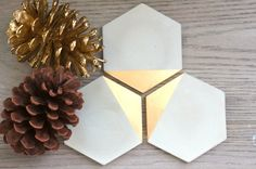 Concrete Hexagon Gold Painted Coasters. Set of 4 by MeAConcrete on Etsy https://www.etsy.com/listing/261090815/concrete-hexagon-gold-painted-coasters