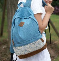 Fresh Denim Dot Lace Student Backpacks – lilyby