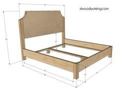 DIY Upholstered Bed Frame Furniture Plans King Size Upholstered
