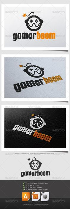Gamer Boom Logo  #GraphicRiver         Funny logo of a gamer. This bold and explosive logo can be used for many kind of projects. Full vectors, this logo can be resize and colors can be changed. The font used is in a download file in the package.