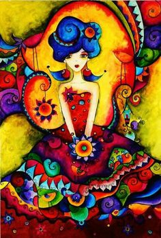 Stunningly bright rainbow colored illustration. Love all this color!