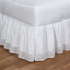 The lovely Cutwork Gathered Bedskirt will coordinate well with almost any bedding. This gathered, cotton bedskirt is solid white and features an drop. Daybed Comforter, Comforter Sets, Bed Base Cover, White Daybed, Men Apartment, Sewing Collars, Daybed Covers, Amity Home, Glass Jewelry Box