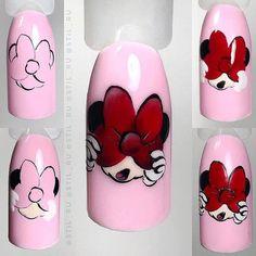 Make an original manicure for Valentine's Day - My Nails Aycrlic Nails, Nail Manicure, Love Nails, Pretty Nails, Animal Nail Designs, Animal Nail Art, Nail Art Designs, Wonder Nails, Minnie Mouse Nails