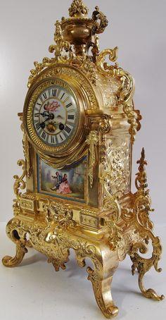 .Relojes antiguos 19o C francesa Admougin bronce y porcelana de Sèvres Manto del reloj