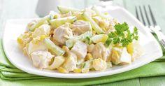 Recette de Salade diététique au poulet, ananas et pomme. Facile et rapide à réaliser, goûteuse et diététique. Ingrédients, préparation et recettes associées.