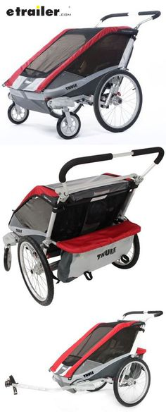 This bike trailer and stroller offers safety and comfort with features like an adjustable suspension, more leg room, and a weather cover. Built-in brackets make it easy to store conversion kits (sold separately) for jogging or hiking and skiing.