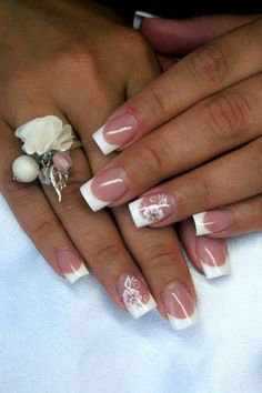 French manucure with white flower