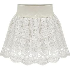 White Lace High Waist Stylish Bubble Skirt ($28) ❤ liked on Polyvore featuring skirts, bottoms, white, high waisted skirts, white floral skirt, white skirt, scalloped skirt and floral skirt