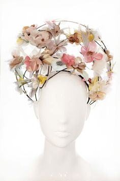 Pastel Silk flowers - 'Madonna wears Pastels' crown- Statement Headpiece- Luxury…