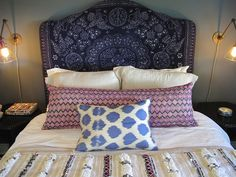 Amber Interiors: Amazing Moroccan style purple girl's bedroom with camelback headboard upholstered in ...