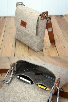 This messenger bag is handmade from 3 mm industrial wool felt, Wool Felt Satchel Bag, Mens Satchel, Felt Messenger Bag, Mans Bag, Over shoulder Bag