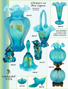 catalog whispers on blue lagoon Fenton Lamps, Fenton Glassware, Antique Glassware, Cut Glass, Glass Art, Antique Appraisal, Hurricane Lamps, Oil Lamp, Glass Company