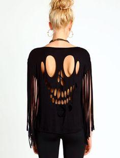 T-shirt: ripped shirt shreded shredded shirt, black, skull, skull shirt