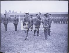 Military WWI 1914 The Duke of Rutland inspecting recruits in Victoria Park - Lumbers collection Duke of Rutland shaking hands with recruits in Victoria Park Glass plate negative Lumbers Negatives Collection, Leicestershire Record Office Baden Powell, General Hospital, Wwi, Duke, Plate, Victoria, Military, Dishes, Plates