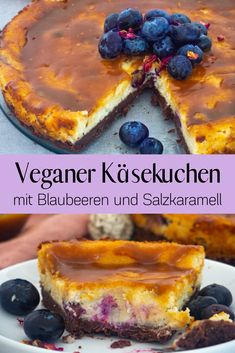 This vegan cheesecake with blueberries is so delicious. The cake consists of a cream cheese filling with a brownie crust and a salted caramel topping. Healthy Cheesecake, Healthy Vegan Desserts, Vegan Dessert Recipes, Köstliche Desserts, Delicious Desserts, Cake Recipes, Caramel Cheesecake, Vegetarian Food, Veggie Recipes