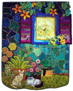 """Hoffman Challenge - 2013 Mixed Best Machine Work.  """"Cottage Window"""" 35"""" H x 45"""" W Ann Horton Redwood Valley, CA"""