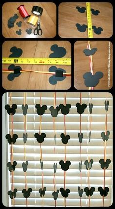 Easy DYI Disney Garland - Decorations for home or hotel room. (use disney paint chip samples from home depot) Easy DYI Disney Garland - Decorations for home or hotel room. (use disney paint chip samples from home depot) Theme Mickey, Mickey Mouse 1st Birthday, Mickey Mouse Clubhouse Party, Mickey Mouse Parties, 2nd Birthday, Birthday Ideas, Mickey Mouse Baby Shower, Baby Mickey, Mickey Head