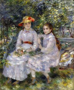 Pierre-Auguste Renoir (French [Impressionism] The Daughters of Paul Durand Ruel (Marie Theresa and Jeanne), Chrysler Museum of Art. Pierre Auguste Renoir, Edouard Manet, August Renoir, Chrysler Museum, Renoir Paintings, Camille Pissarro, Post Impressionism, Impressionist Paintings, Art History