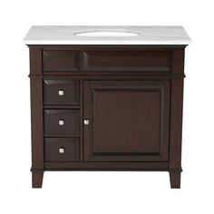 Westport Bay Martinsburg Mahogany in Espresso 1059S (Common: 37-in x 22-in) Undermount Single Sink Bathroom Vanity with Natural Marble Top (Actual: 37-in x 22-in)