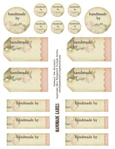 Ephemera's Vintage Garden: Free Printable - 'Handmade By' Tags and Labels