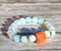 Opal with Sponge Coral Beaded Bracelet,  would love  bunch of these, soo summery