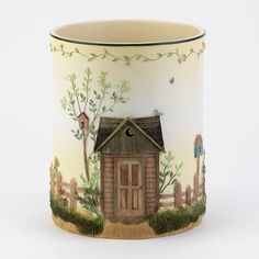 Outhouses Garbage Can - Outhouse Bathroom Decor By Linda Spivey Outhouse Bathroom Decor, Basement Bathroom, Bathroom Ideas, Paint Cans, Bathroom Accessories, Color Splash, Candle Holders, Rustic, Design