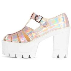 Jamiya Pink Holographic Cut Out Heeled Sandals (170 DKK) ❤ liked on Polyvore featuring shoes, sandals, pink, holographic shoes, cutout sandals, chunky high heel shoes, chunky-heel sandals and high heels sandals