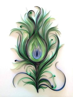 ashley chiang of paper liberated takes quilling to a whole new level! (Quilled Peacock Feather by Ashley Chiang) Quilled Paper Art, Paper Quilling Designs, Quilling Paper Craft, Diy Paper, Paper Crafts, Diy Crafts, Peacock Feather Tattoo, Peacock Art, Peacock Feathers