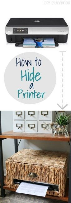 Want to organize your office? Try this idea to hide your home printer in a basket. Seriously genius!
