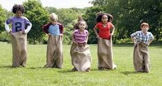Potatoe sack race for field day party Family Reunion Activities, Family Games, Activities For Kids, Family Reunions, Outdoor Activities, Group Games, Team Games, Fun Group, Group Activities