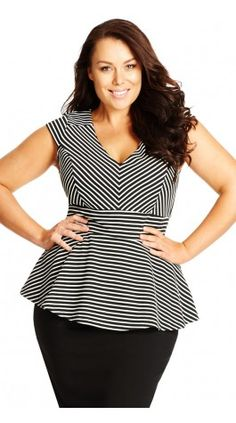 Plus Size Stripe Peplum Top - City Chic
