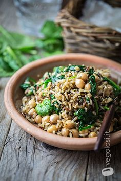 riso integrale con ceci e spinacino (o anche zucchine e cannellini)