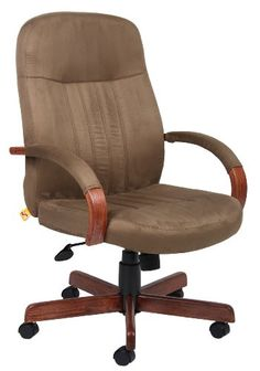 Boss Office Products B8386DKC Microfuber Executive Chair with Dark Oak Finish in Cappuccino * See this great product.Note:It is affiliate link to Amazon.