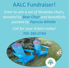 Thanks to The Bear Chair Company in South River for donating two lovely Muskoka chairs and to Pat J. Whittle artist for creating gorgeous works of art with them! Time to sit back and enjoy while supporting AALC's learners 🙂 Call us for more info. #AALC #AlmaguinHighlands Whittling, Continuing Education, Learning Centers, Fundraising, Centre, Chairs, Bear, River, Artist
