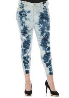 SLINK JEANS Electric Tie Dye Plus Size Summer Ankle Jegging