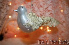 Christmas-Ornaments-White-Glass-Bird-Embellished-With-Lace-Shabby-Cottage-Chic