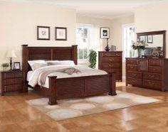 Walnut Finish with Wooden Slat Detailing | Norman Bedroom Set
