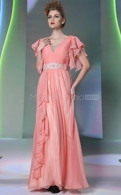 Watermelon V-neck Long Evening Dress
