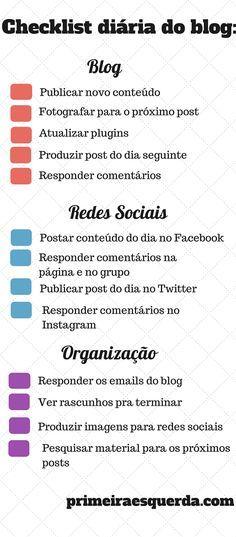 Checklist pra Manter o Blog Organizado! - Clique aqui http://www.estrategiadigital.pt/e-book-ferramentas-de-redes-sociais/ e faça agora mesmo Download do nosso E-Book Gratuito sobre FERRAMENTAS DE REDES SOCIAIS